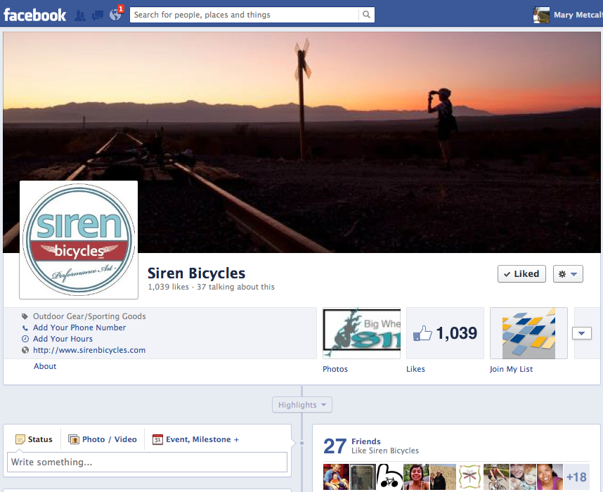 Social Media Facebook Page Siren Bicycles